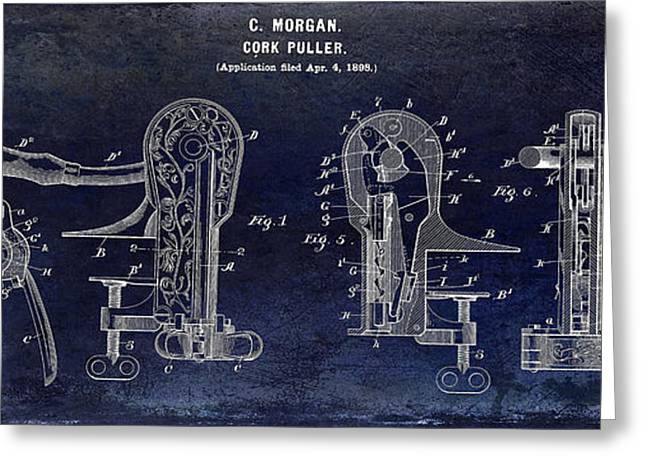 Red Wine Bottle Greeting Cards - Cork Puller Patent 1899 Greeting Card by Jon Neidert