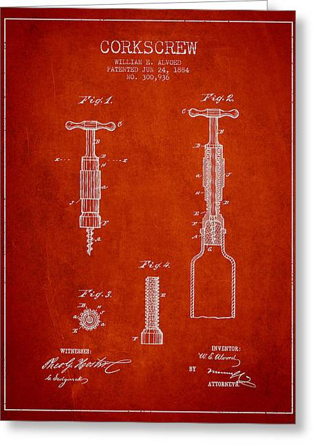 Corkscrew Art Greeting Cards - Corkscrew patent Drawing from 1884 Greeting Card by Aged Pixel