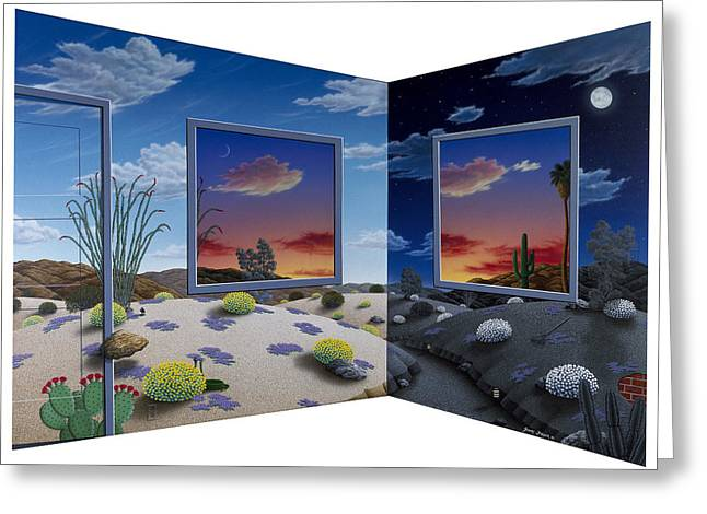 Sand Dunes Paintings Greeting Cards - Corner View Greeting Card by Snake Jagger