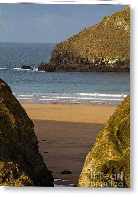 Golfcourse Greeting Cards - Cornish Seascape Holywell Bay Greeting Card by Brian Roscorla