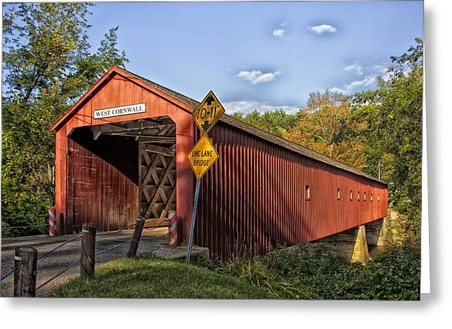 Connecticut Covered Bridge Greeting Cards - Cornwall Bridge in Connecticut Greeting Card by Mountain Dreams