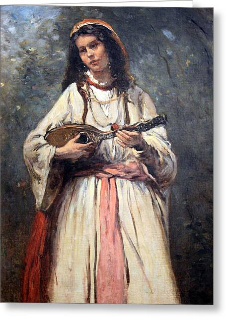 C.1870 Greeting Cards - Corots Gypsy Girl With Mandolin Greeting Card by Cora Wandel