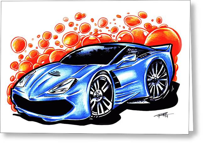 Iroatethis Drawings Greeting Cards - Corvette Greeting Card by Big Mike Roate