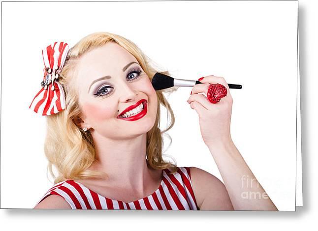 White Powder Greeting Cards - Cosmetics pin-up model applying blusher makeup Greeting Card by Ryan Jorgensen