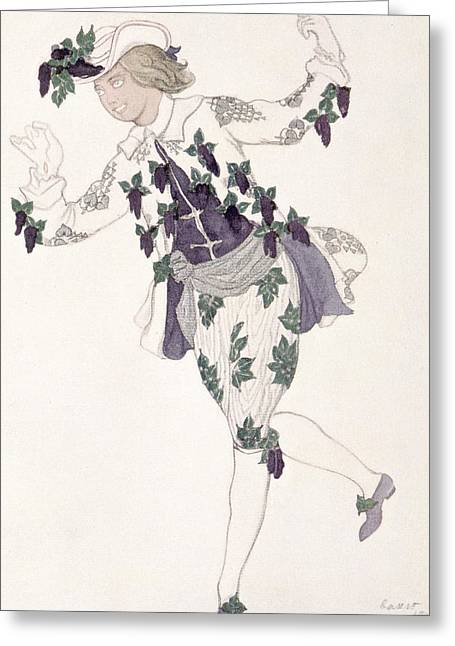 Ballet Dancers Drawings Greeting Cards - Costume Design For The Pageboy Greeting Card by Leon Bakst