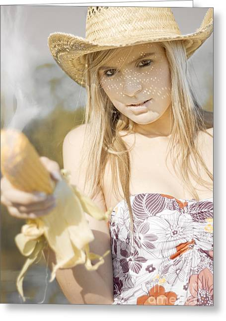 Pretty Cowgirl Greeting Cards - Country And Western Corn Slinger Greeting Card by Ryan Jorgensen