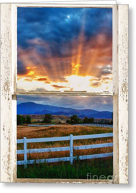 Office Space Greeting Cards - Country Beams Of Light Barn Picture Window Portrait View  Greeting Card by James BO  Insogna