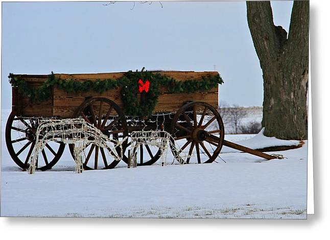 Wagon Wheels Greeting Cards - Country Christmas Greeting Card by Dan Sproul