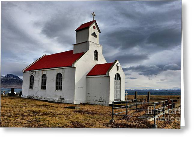 Grave Side Greeting Cards - Country Church Greeting Card by Alicja Magdalena Zbikowska