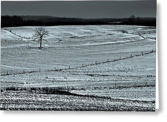 Snowy Day Greeting Cards - Country Landscape In Winter Greeting Card by Dan Sproul
