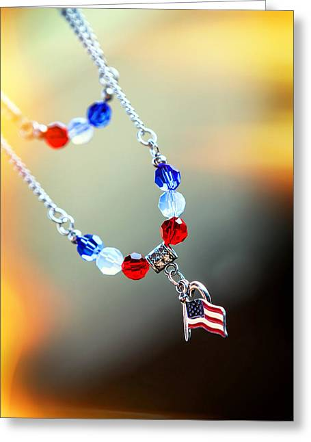 Bold Necklace Greeting Cards - Country Pride Greeting Card by Sennie Pierson