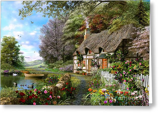 Countryside Cottage Greeting Card by Dominic Davison