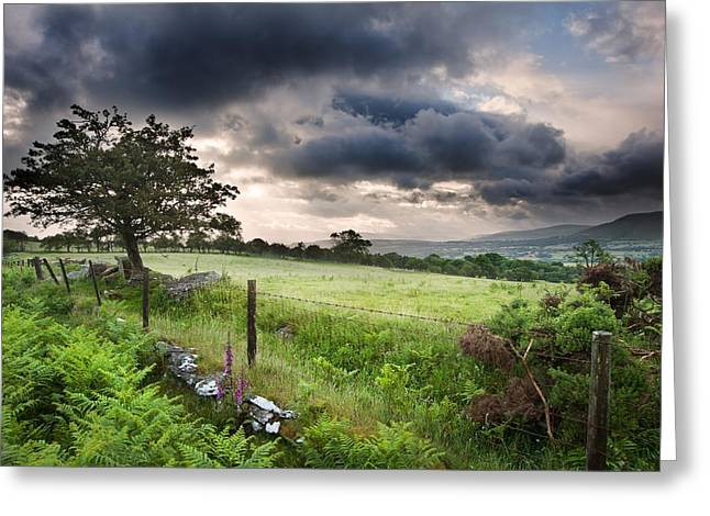 Brecon Beacons Greeting Cards - Countryside landscape image across to mountains in distance with Greeting Card by Matthew Gibson
