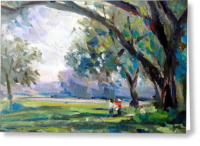 Mountain Climbing Print Paintings Greeting Cards - Couple in the Park Greeting Card by Mark Hartung