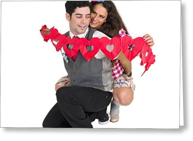 Women Only Greeting Cards - Couple With Heart Shape Paper Chain Greeting Card by Ilan Rosen