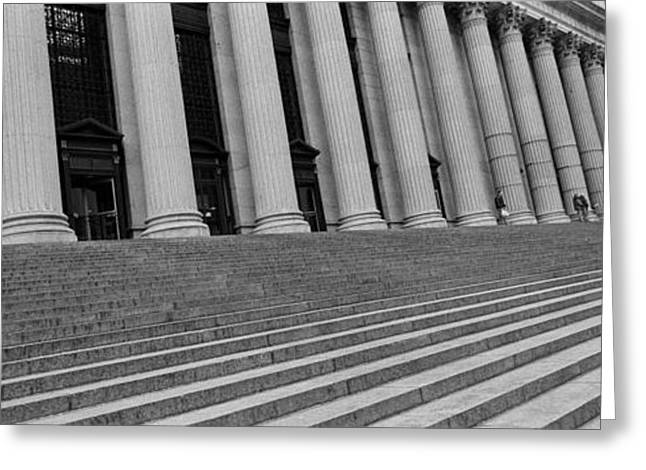 Oblique Greeting Cards - Courthouse Steps, Nyc, New York City Greeting Card by Panoramic Images