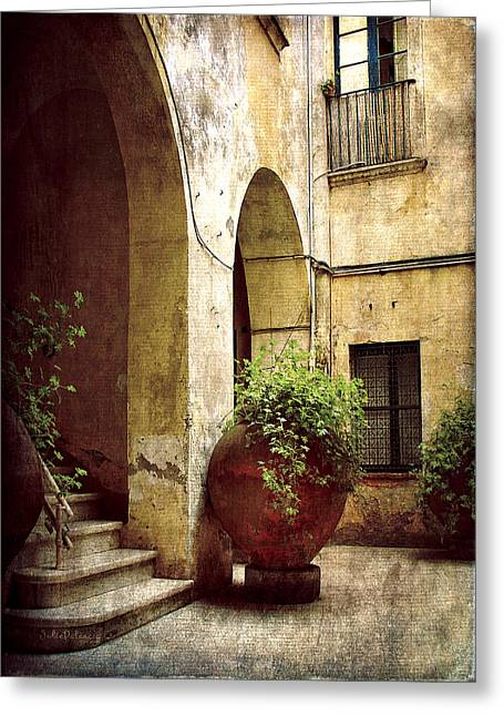 Southern Italy Greeting Cards - Courtyard in Capri Greeting Card by Julie Palencia