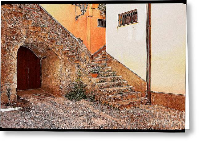 Garden Scene Digital Art Greeting Cards - Courtyard of Old house in the ancient village of Cefalu Greeting Card by Stefano Senise