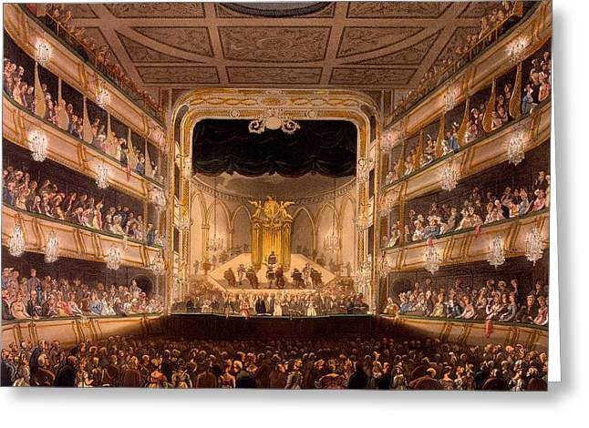 Microcosm Greeting Cards - Covent Garden Theatre, From Microcosm Greeting Card by T. & Pugin, A.C. Rowlandson