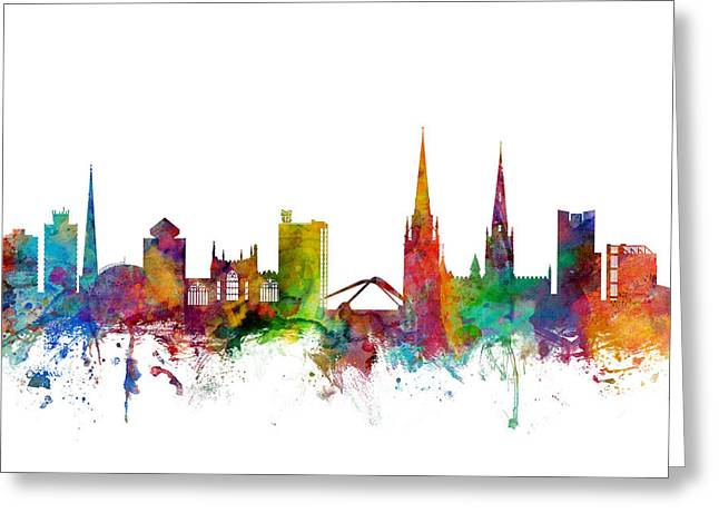 Cityscape Digital Art Greeting Cards - Coventry England Skyline Greeting Card by Michael Tompsett