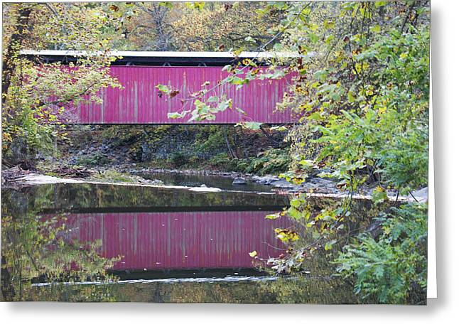 Covered Bridge Greeting Cards - Covered Bridge Along the Wissahickon Creek Greeting Card by Bill Cannon