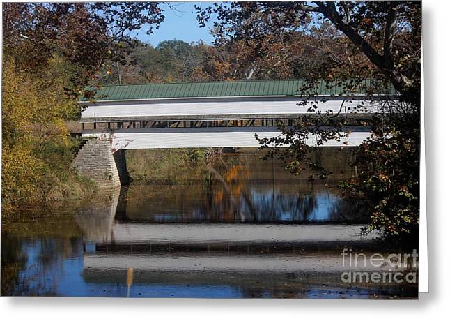 Indiana Autumn Greeting Cards - Covered Bridge Greeting Card by Karen Harris