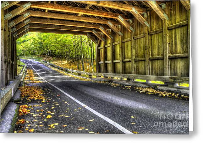 Covered Bridge On Pierce Stocking Scenic Drive Greeting Card by Twenty Two North Photography