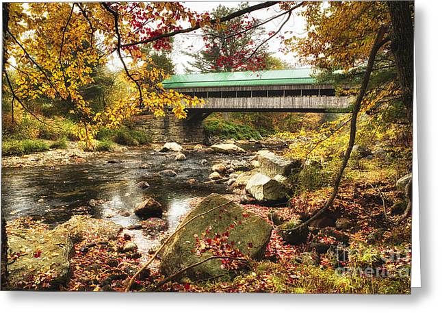 Covered Bridge Greeting Cards - Covered Bridge Over the Ellis River Greeting Card by George Oze