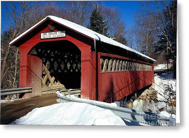 Old Barns Greeting Cards - Covered Bridge Greeting Card by Rafael Macia