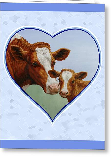 Guernsey Greeting Cards - Cow and Calf Pink Heart Greeting Card by Crista Forest