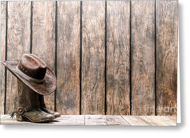 Western Greeting Cards - Cowboy Hat on Boots Greeting Card by Olivier Le Queinec