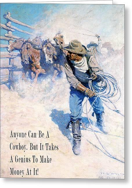 Working Cowboy Greeting Cards - Cowboy Roping Wild Horses Greeting Card by N C Wyeth