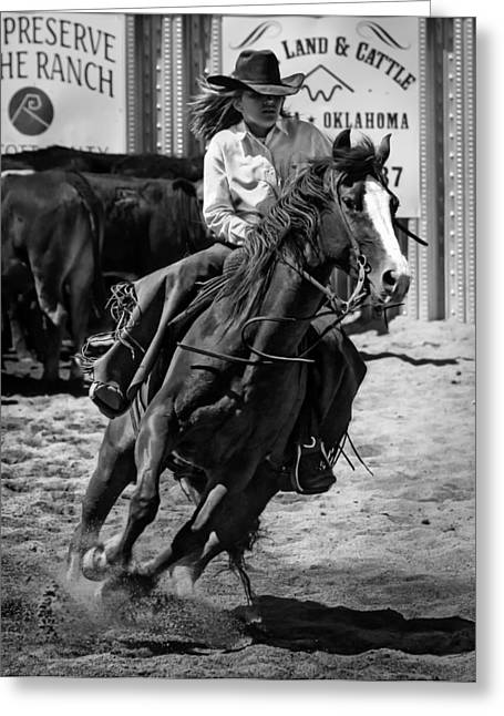 Cowgirl And Cowboy Greeting Cards - Cowgirl Greeting Card by Mountain Dreams