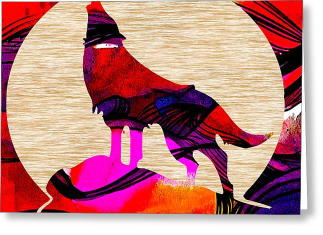 Wild Greeting Cards - Coyote and The Moon Greeting Card by Marvin Blaine