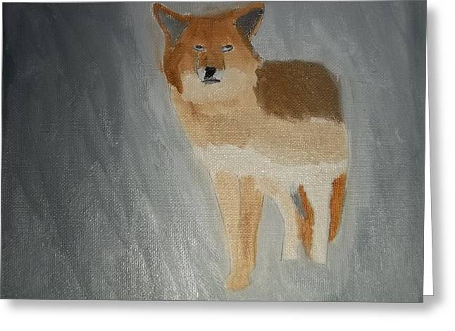 Etc. Paintings Greeting Cards - Coyote Oil Painting Greeting Card by William Sahir House