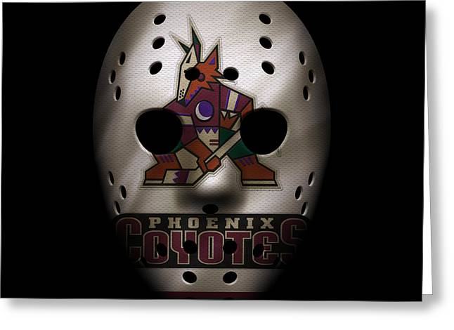 Goalie Greeting Cards - Coyotes Jersey Mask Greeting Card by Joe Hamilton