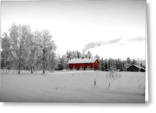 Snowy Field Greeting Cards - Cozy Winter Home in Finland Greeting Card by Mountain Dreams