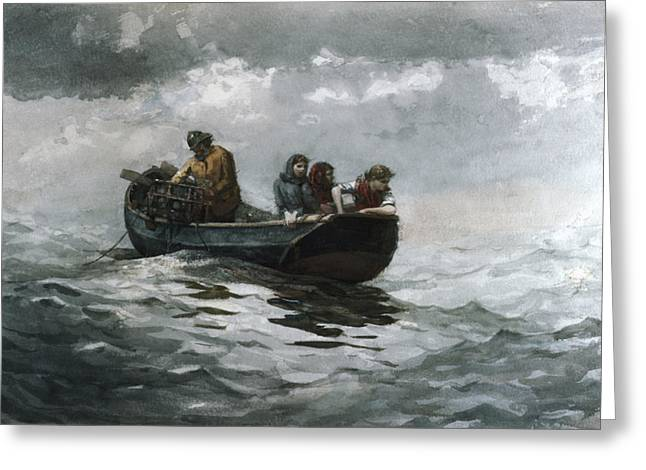 Winslow Homer Mixed Media Greeting Cards - Crab Fishing Greeting Card by Winslow Homer