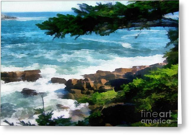 New England Ocean Greeting Cards - Crashing Waves Greeting Card by Helene Guertin