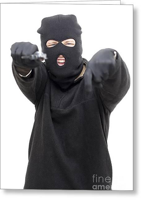 Balaclava Greeting Cards - Crazed Shooter Greeting Card by Ryan Jorgensen