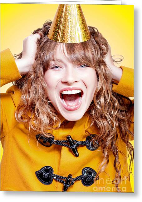 Gold Hair Greeting Cards - Crazy and overjoyed party girl Greeting Card by Ryan Jorgensen