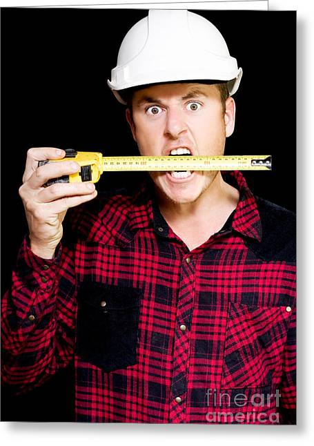 Plaid Shirt Greeting Cards - Crazy builder biting his tape measure Greeting Card by Ryan Jorgensen