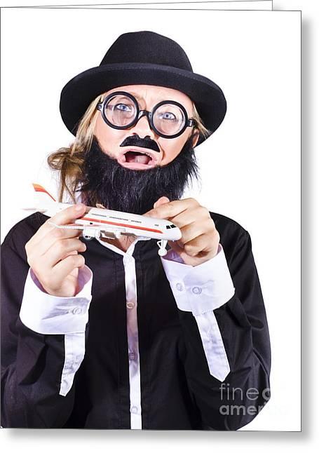 Hijacker Greeting Cards - Crazy terrorist hijacking passenger jet plane Greeting Card by Ryan Jorgensen