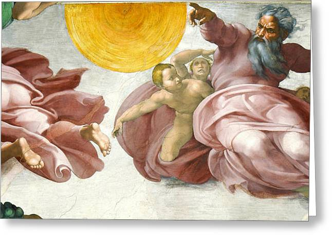 Michelangelo Greeting Cards - Creation of Sun Moon and Planets Within the Sistine Chapel Ceiling Greeting Card by Michelangelo di Lodovico Buonarroti Simoni
