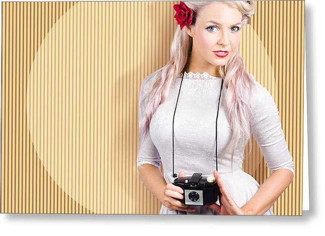 Creative Vintage Woman Holding Retro Camera Greeting Card by Jorgo Photography - Wall Art Gallery