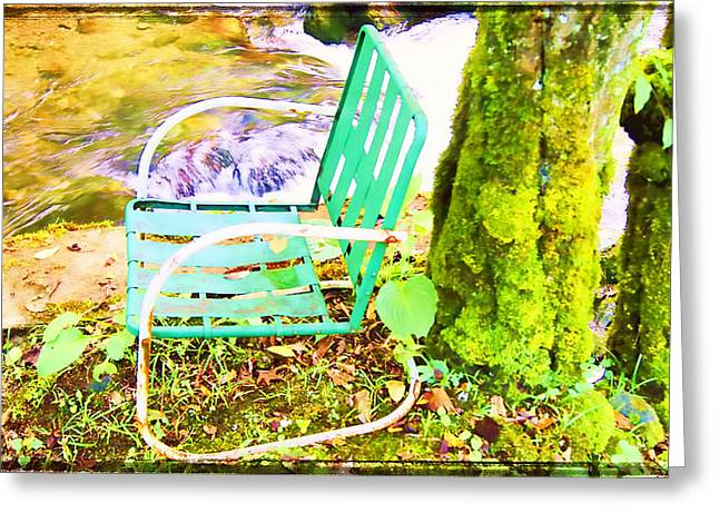 Lawn Chair Digital Greeting Cards - Resting At Creek Side Greeting Card by KJ DePace