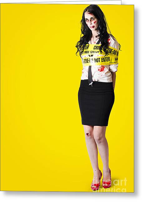 Full-length Portrait Greeting Cards - Creepy homicide girl standing undead on yellow Greeting Card by Ryan Jorgensen