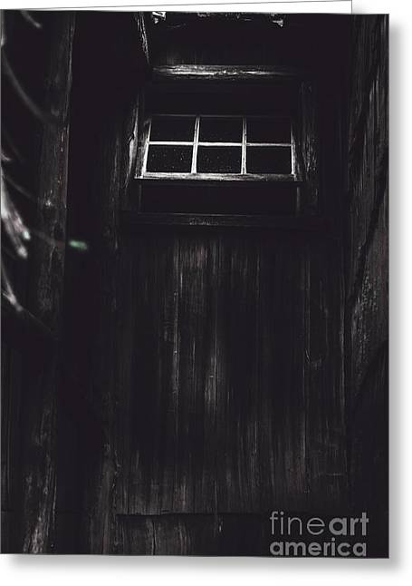 Old Cabins Greeting Cards - Creepy open horror window in the dark shadows Greeting Card by Ryan Jorgensen