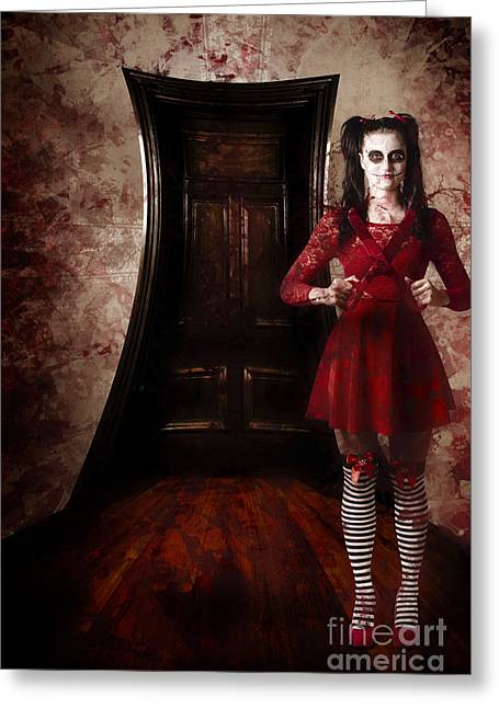 Haunted House Photographs Greeting Cards - Creepy woman with bloody scissors in haunted house Greeting Card by Ryan Jorgensen