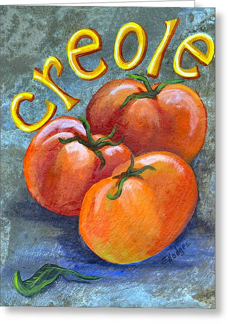 Local Food Paintings Greeting Cards - Creole Tomatoes Greeting Card by Elaine Hodges